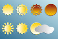 Sun set vector different types with depth and shadow Stock Photos