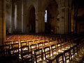Sun shines inside a church an empty in france Royalty Free Stock Images