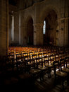 Sun shines inside an empty church in france Royalty Free Stock Images