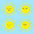Sun shining icon set. Kawaii face with different emotions. Cute cartoon funny smiling character. Hello summer. Blue sky background Royalty Free Stock Photo