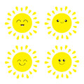 Sun shining icon set. Kawaii face with different emotions. Cute cartoon funny smiling character. Hello summer. White background. I Royalty Free Stock Photo