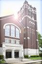 Sun shining over modern church