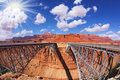The sun is shining over Navajo Bridge Stock Images