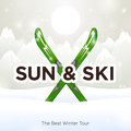 Sun ski and sun snow background Royalty Free Stock Photos