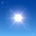 Sun in the sky shining a clear blue illustration Royalty Free Stock Images