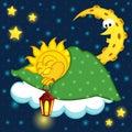 Sun sleeping on cloud Royalty Free Stock Photo