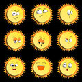 Sun Smile Icon Set on Black Background. illustration. Set Of Sun Smile Emotion Icons with Shadows. Set of Sun