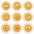 Sun Smile Icon Set Isolated on White Background. illustration. Set Of Sun Smile Emotion Icons. Set of Sun