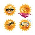 Sun smiles cartoon emoticons and summer emoji faces vector icons set