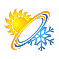 Sun and snowflake for air conditioning