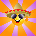 Sun with sombrero illustration of a and sunglasses Stock Photo