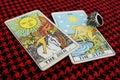 The sun the star gypsy tarot luck fate destiny predict horoscope augur clairvoyant seer celebrated Stock Photo