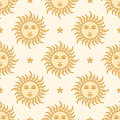 Sun and Star. Seamless pattern. Royalty Free Stock Photo