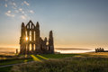 Sun Star on Whitby Abbey Royalty Free Stock Photo