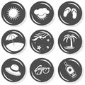 Sun summer holidays gray button set monochrome with light shadow on white background vector isolated elements Royalty Free Stock Photos