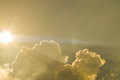 Sun, Sunbeam, Cloud and Sky. Background and Texture. Royalty Free Stock Photo