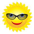 Sun with sunglasses Stock Photo