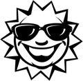 Sun With Sunglasses Cartoon Ve...