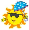 Sun in sunglasses with umbrella Stock Photography