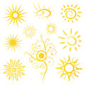Sun sunshine summer vector set and design elements Royalty Free Stock Images