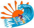 Sun, surf and surfer Royalty Free Stock Photo