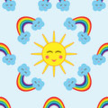The sun surrounded by clouds and a rainbow. Cartoon seamless pattern.