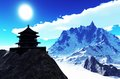 Sun temple buddhist shrine in the himalayas Stock Photos