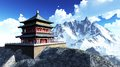 Sun temple buddhist shrine in the himalayas Stock Photo