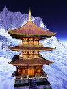 Sun temple buddhist shrine in the himalayas Stock Images