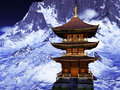 Sun temple buddhist shrine in the himalayas Stock Image