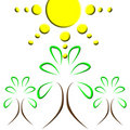 Sun tree logo Stock Photography