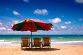Sun umbrella and sea beach beautiful landscape Royalty Free Stock Images