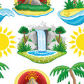 Sun, volcano, waterfall and tropical island Royalty Free Stock Photo