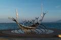 Sun voyager the modern sculpture sólfar in icelandic in reykjavik Royalty Free Stock Photography