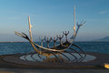 Sun voyager the modern sculpture sólfar in icelandic in reykjavik Royalty Free Stock Photography