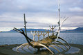Sun voyager monument landmark of reykjavik was designed by jon gunnar arnason Royalty Free Stock Image