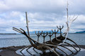 The sun voyager monument in reykjavik Stock Images