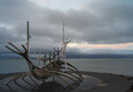 The sun voyager raykjavik iceland is a sculpture along sea by sæbraut just southeast of harpa hall and conference center Stock Image