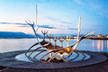 Sun voyager reykjavik iceland sculpture in at midnight in summertime Stock Photo