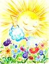 Sun watering flowers. Royalty Free Stock Photo
