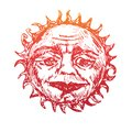 The sun with the wrinkled face of a wise old man looks with kindness in his eyes, old fashioned woodcut style design Royalty Free Stock Photo