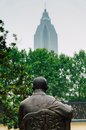 Sun yat sen statue s back in nanjing president office site Royalty Free Stock Photo