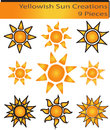 Sun yellowish creative and decorative logos for your product or company Royalty Free Stock Photos