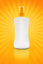 Sunbath oil or sunscreen bottle blank plastic with copy space Stock Photography