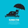 Sunbathe black graphic vector illustration Stock Images