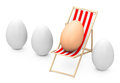Sunbathing egg d generated picture of a in a row of white eggs Royalty Free Stock Photo