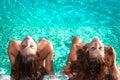 Sunbathing in the swimmingpool Royalty Free Stock Photo