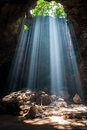 Sunbeam in cave light the Stock Images