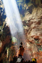 Sunbeam into the cave to at national park in thailand Royalty Free Stock Image