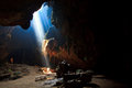 Sunbeam into the cave to at national park in thailand Stock Photography